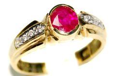 Genuine Diamond Solitaire Ruby Ring 18K Yellow Gold [RS0194] BKGjewelry http://www.amazon.com/dp/B00BRIXQPA/ref=cm_sw_r_pi_dp_y1lIwb0TV9BMF