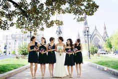 #navy blue bridesmaids #purple bouquets