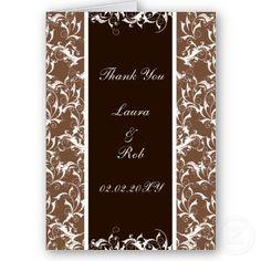 """mocha brown"" damask wedding ThankYou Cards"