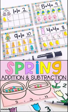 Spring themed math centers that are perfect for reinforcing important math skills: addition and subtraction!