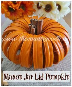 Cute cute cute -- from Halloween all the way through your Thanksgiving centerpiece! These adorable pumpkins are made from painted canning jar rings and cinnamon sticks! Wouldn't these be a great project with kids and grandkids?   http://www.thecountrycook.net/2013/09/mason-jar-lid-pumpkins.html