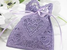 Lavender Gift Bag, Lace with Hearts