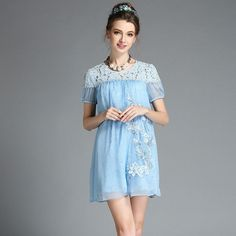 Women's Loose Fit Blue Lace Beaded Floral Baby Doll Dress Plus Size L-5XL