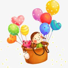 Cartoon Balloons, Balloon, Flowers, Creative Children\'s Day PNG and PSD Happy Birthday Balloon Banner, Balloon Gift, First Birthday Invitations, Balloon Cartoon, Cartoon Butterfly, Balloon Background, Balloon Illustration, Celebration Background, New Backgrounds