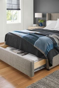 The Marlo storage bed features the same distinctive silhouette as our original version, but a hidden storage drawer that pulls out from the foot of the bed makes it as functional as it is stylish.