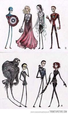 Tim Burton's Avengers. This is awesome!  I love Tim Burton!