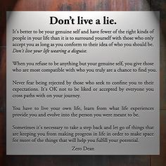 Excerpt from: Don't live a lie