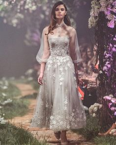 "5,181 Likes, 12 Comments - Paolo Sebastian (@paolo_sebastian) on Instagram: ""PSS/S1801 - Tea-length gown with floral embroidery and tulle shirt. #Disney #OnceUponADream"""