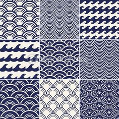 Ocean Waves Drawing, Wave Pattern, Illustrations, Google Search, Seamless Ocean, Japanese Waves, Design, Japanese Pattern