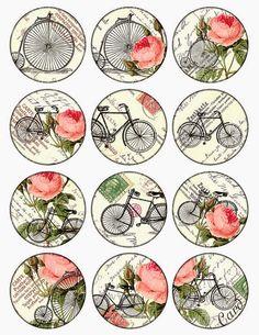 bikes and roses Vintage Printable Tags Digital Collage Sheet large circle images… Vintage Tags, Vintage Labels, Vintage Prints, Vintage Retro, Vintage Roses, Decoupage Vintage, Decoupage Paper, Vintage Paper, Printable Images