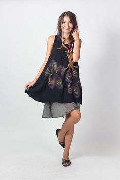Black Short sleeveless Cotton Women Dress with Gathered Back and Liner (DR174)/ Summer Dress / Hand Painted Tie Dye / Boho / Hippie by NaniFashion on Etsy https://www.etsy.com/listing/189282550/black-short-sleeveless-cotton-women