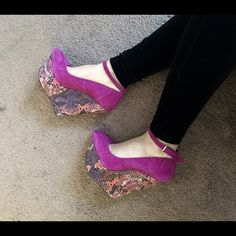 Fushia wedges! Fushia wedges! Suede with snake print wedge! Wild Pair Shoes Wedges