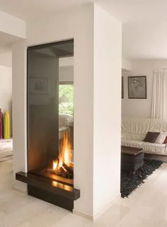 Gorgeous Double Sided Fireplace Design Ideas, Take A Look ! - - Gorgeous Double Sided Fireplace Design Ideas, Take A Look ! Contemporary Fireplace Designs, Outdoor Fireplace Designs, Custom Fireplace, Home Fireplace, Fireplace Remodel, Living Room With Fireplace, Fireplace Glass, Modern Fireplaces, Christmas Fireplace
