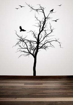 Winter Tree with Birds Decorative  Vinyl Wall by VinylWallAccents, $79.00