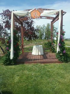The arbor at our ceremony sight which we can decorate. Sandstone vineyards