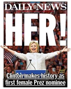 6/8/16 Via  NY Daily News:     STOP THE PRESSES! New front page... HER! Clinton makes history as first female Prez nominee http://nydn.us/1YdLl2U