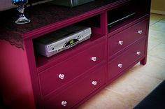 DIY dresser turned TV stand. Gorgeous!