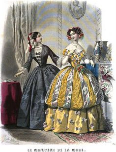 Early Victorian Era Clothing: Early Victorian Fashion Plate - March 1852 Le Moniteur de la Mode