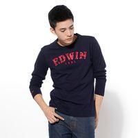 【9折優惠↘】EDWIN 個性渲染LOGO 圓領T恤-男款 黑藍色