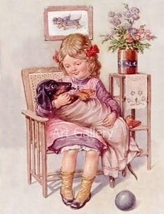 Dachshund Babied in Blanket Cute Girl Vintage Postcard Art Print Magnet Vintage Dachshund, Baby Dachshund, Arte Dachshund, Daschund, Old Illustrations, Weenie Dogs, Doggies, Cute Young Girl, Postcard Art