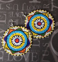 Seed Bead Disc Earrings Tribal Inspired Extra Large by WorkofHeart