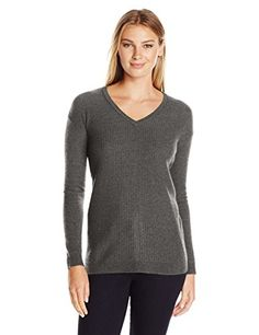 Lark  Ro Women's Cashmere Textured Front Deep V-Neck Pullover, Charcoal, Medium  Special Offer: $49.50  388 Reviews V-neck cashmere sweater featuring ribbed-knit front and drop-shoulder seaming at sleevesMixed textures and dropped shoulder seams distinguish this long-sleeve...