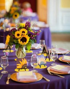 2019 Brides Favorite Purple Wedding Colors---purple and yellow wedding centerpieces with sunflowers, diy wedding reception table decorations Sunflower Wedding Decorations, Wedding Centerpieces, Wedding Table, Fall Wedding, Wedding Flowers, Dream Wedding, Sunflower Weddings, Yellow Decorations, Reception Table
