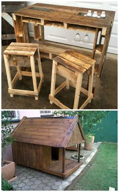 #Garden, #PalletBar, #PalletDoghouse, #RecyclingWoodPallets Made a wooden dog kennel out of crate wood, treated it for insects and outdoor weather. Now I have two happy dogs.