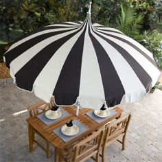 Black and white stripe Pagoda 8.5-ft. Patio Umbrella