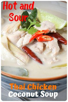 Tom Kha Gai is one of the well-known soups from Thailand. It has coconut milk and a lot of ingredients combined to make a hell of a taste! Chicken Coconut Soup, Spicy Chicken Recipes, Thai Chicken, Curry Recipes, Asian Recipes, Ethnic Recipes, Easy Recipes, Tom Kha Gai Recipe, Brunch Recipes