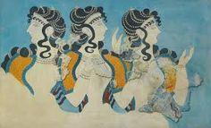 ∴ Trios ∴ the three graces & groups of 3 in art and photos - Minoan Ladies in Blue Fresco - Reproduction by Emile Gilleron - The Metropolitan Museum Fresco, Knossos Palace, Minoan Art, Bronze Age Civilization, Mycenaean, Art Antique, Greek Art, Mural Painting, Mural Art
