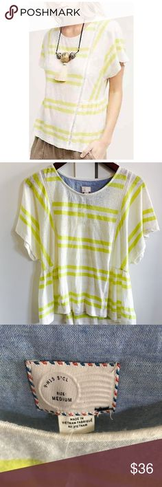 NWOT Postmark 9-H15 STCL Yellow Stripe Linen Tee Postmark 9-H15 STCL Yellow Stripe 100% Linen Tee Top with cute button detail on back.  Size Medium. NWOT.  Comes with tag that has extra button.  I noticed as I was taking pics that there is a small hole under one of the arms (see pic).  Very light and airy shirt, perfect for spring!  🌼🌸🌷🌻🌺 Anthropologie Tops Tees - Short Sleeve