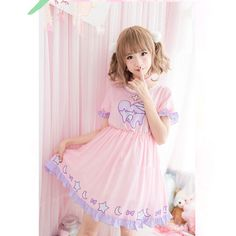 Cute Clothes Dress on Girly Girl の To Alice.Harajuku Summer Pink Lace Dress Lolita Print Contrast Shirt Gg523 catches up with the Girly Girl style.Get yourself ready to look fashion.Don't miss it.