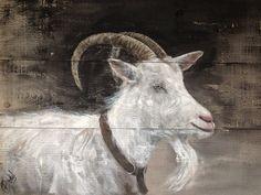 Dieren op hout Goat on wood schilderij op steigerhout www.boxart.be