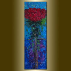 Valentine Rose Red Roses Oil Painting Textured Palette Knife Contemporary Floral Modern Original Art 12X36 by Willson