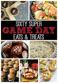 Over 60 Recipes for great game day foods! #appetizer #gameday