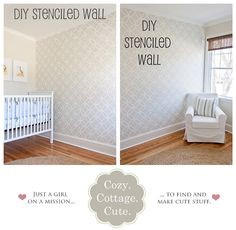 Allover wall stencil for a nursery wall. Looks great in neutral colors. Wall Stencils DIY | Cozy Cottage Cute Nursery | Royal Design Studio