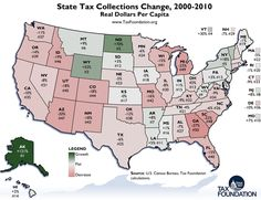 State Tax Collections Change, 2000-2010