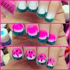.... sporting watermelon nails.