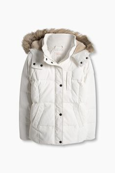 Esprit / Down jacket with a teddy-lined hood