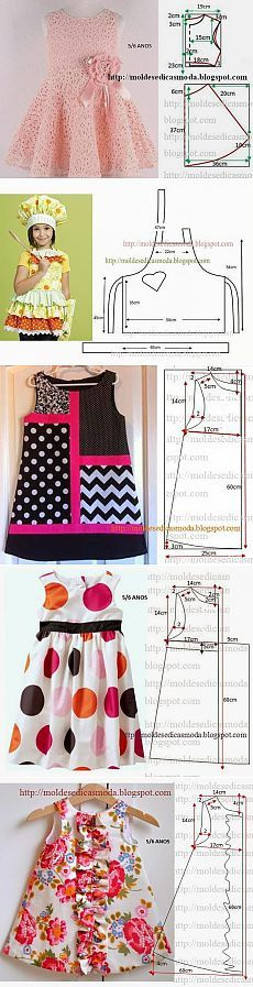 Little girl dresses and an apron patterns from: Моделирование детской одежды. Baby Dress Patterns, Kids Patterns, Apron Patterns, Coat Patterns, Blouse Patterns, Sewing Patterns, Little Dresses, Little Girl Dresses, Sewing For Kids