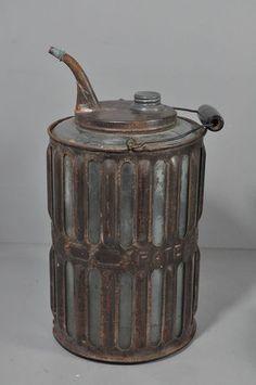 "Antique 1881 Adams & Westlake ""Daisy"" Railroad Glass & Metal Oil Can"