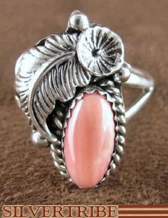 Navajo coral and sterling ring.  I love Native American jewelry. heidiaphrodite south-western-jewelry