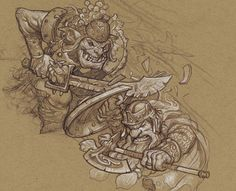 The Battle of Five Armies, rough sketches by Justin Gerard