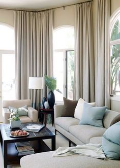 I like the taupe with the robin's egg blue. Could work with our sofa.