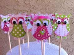 Who Loves You Pink And Green Owl Cupcake Toppers from Picsity.com