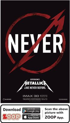 ZOOP Augments Movie 'METALLICA THROUGH THE NEVER (2013)' #Movie #Poster #MoviePoster #Augmented Reality #AR #QR #Scan #METALLICA#HOLLYWOOD #ZOOP