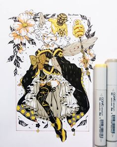 Copic Drawings, Anime Drawings Sketches, Anime Sketch, Kawaii Drawings, Cute Drawings, Arte Copic, Copic Art, Cute Art Styles, Cartoon Art Styles