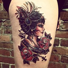 old school gypsy tattoo Love her hair and how you can see each strand