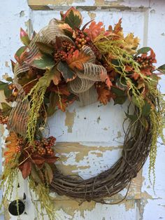 Autumn Wreath, Fall Wreath, Front Door Wreath, Etsy Wreath, Housewarming Gift by FlowerPowerOhio on Etsy